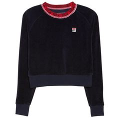 Women's Fila Dina Velour Crop Sweatshirt (€33) ❤ liked on Polyvore featuring tops, hoodies, sweatshirts, sweaters, fila, fila top, blue top, blue crop top and cut-out crop tops