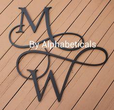 Painted Wooden Initials - Wooden Monogram - Circle Monogram ...