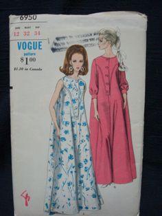 1960s Ladies' Robe Pattern Full Length Shaped Yoke by kinseysue, $10.00 ~ interesting ~ Vogue 6950