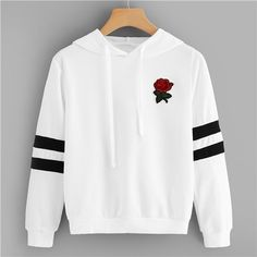 To find out about the Rose Patched Striped Sleeve Drawstring Hoodie at SHEIN, part of our latest Sweatshirts ready to shop online today! Crop Pullover, Sweatshirt Dress, Sweater Hoodie, Teenage Outfits, Teen Fashion Outfits, Outfits For Teens, Fashion Shirts, Fashion Dresses, Hoodie Sweatshirts