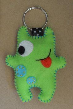 Little Monster Felt Stuffie Key-ring - FolksyYou can find Felt monster and more on our website.Little Monster Felt Stuffie Key-ring - Folksy Felt Keychain, Keychains, Felt Bookmark, Felt Finger Puppets, Felt Monster, Polymer Clay Kawaii, Friend Crafts, Softie Pattern, Ugly Dolls