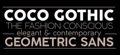 Coco Gothic is a contemporary take on the retro geometric sans serif style of early 20th century typefaces like Futura and Avantgarde. Coco Gothic is also an encyclopedia of styles from the last century