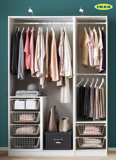 Talk about Organization goals. The PAX wardrobe is here through every season to make sure your wardrobe stays stylish and organized, just like you. Wardrobe organization The 2020 IKEA Catalogue is here! Wardrobe Room, Wardrobe Design Bedroom, Closet Bedroom, Wardrobe Organisation, Closet Organization, Wardrobe Storage, Pax Closet, Closet Layout, Bedroom Cupboards