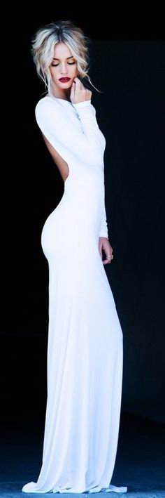 Online shop sexy white mermaid long sleeve backless formal evening dresses elegant women's open back dresses new fashion 2013