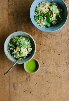 my darling lemon thyme: zucchini, millet + mint salad with coriander dressing