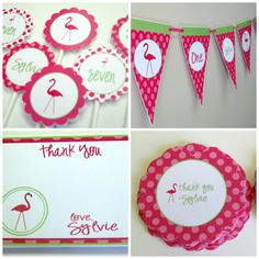 FlamingoPackage - Pink and Lime Green - Personalized and Assembled on Etsy, $137.50
