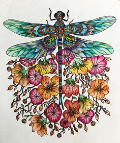 I'm inspired! #dragonfly #beautiful #colors #hannakarlzon #illustration #painting #paint #nature #naturaleza #rainbow #gay #workout #therapy #relax #chillout #prismacolor #love #hippie #goodvibes #boho #art