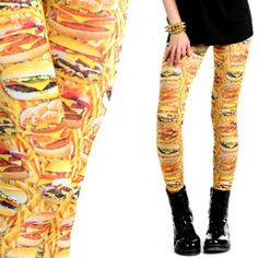 Leginsy z nadrukiem Burger
