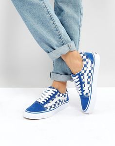 Vans Old Skool Primary Check Sneakers In Blue c548497bb