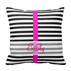 Monogram Black White Stripes Girly Hot Pink Stripe Throw Pillow #PinkAndBlackObsession