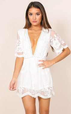 Face The Music Romper in White Lace Produced By SHOWPO