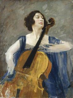 Guilhermina Suggia (1920-23). Augustus John (Welsh, 1878-1961). Oil on canvas. Amgueddfa Cymru - Cardiff. Suggia was Portuguese, but lived in London from 1914. A female cello soloist was then a...