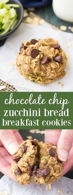 These healthy Chocolate Chip Zucchini Bread Breakfast Cookies are a super yummy make-ahead breakfast or snack! kristineskitchenb...