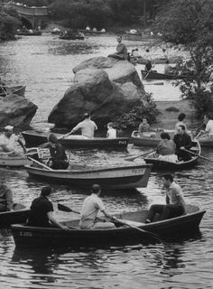 NYC. Rowers on the lake in Central Park, 1961