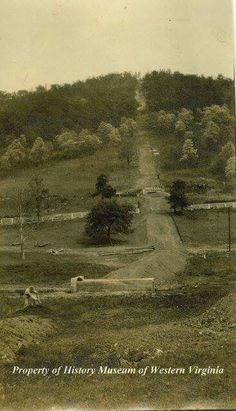 Postcard showing the base of Mill Mountain where the incline would be built. Date of postcard was 1910