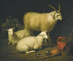 AELBERT CUYP  A BARN INTERIOR WITH A FOUR-HORNED RAM AND FOUR EWES, AND A GOAT, WITH A STILL LIFE OF A BASKET AND UPTURNED POTS TO THE RIGHT
