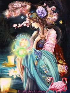The Art of Being Feminine ™: Modern Geisha Art And Illustration, Fantasy Women, Fantasy Girl, Dmc Cross Stitch Kits, Art Chinois, Fairies Photos, Chica Fantasy, Art Asiatique, Art Japonais