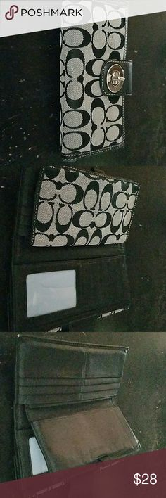 Wallet Authentic coach wallet with checkbook cover, plastic cracked inside, shows wear Coach Bags Wallets