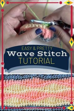 Easy pretty crochet stitches are some of the best stitches to have in your repertoire. They're great for blankets, scarves, wraps and more, they tend to be easy to memorize, and they're perfect for crocheting while traveling or binge watching your latest fav show. This simple wave crochet pattern looks like it would be hard, but it's actually quite simple. Change colors every other row for a beautiful crochet creation. Different Crochet Stitches, Easy Crochet Stitches, Crochet Stitches For Beginners, Easy Crochet Projects, Afghan Crochet Patterns, Crochet Videos, Crochet Basics, Stitch Patterns, Crochet Diagram