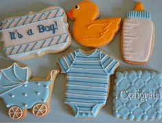 Baby Boy HandDecorated Sugar Cookies by semisweetdesserts on Etsy, $42.00
