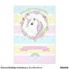 Customizable Invitation made by Zazzle Invitations. 1st Birthday Party For Girls, Unicorn Birthday Parties, Unicorn Party, Birthday Cakes, Rainbow Invitations, Unicorn Birthday Invitations, Invites, Babyshower, Molduras Vintage