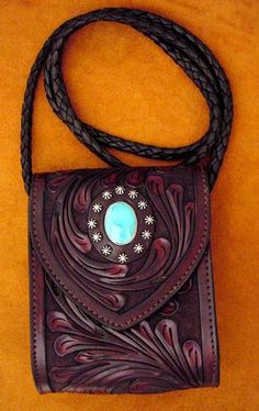 Bag - Hand Carved, Nickel Studs And Turquoise, Magnetic Snap - Appaloosa Trading Co Who Creates These Hand Crafted Leather & Sterling Silver Products Leather Carving, Leather Art, Leather Pouch, Leather Design, Leather Belts, Leather Tooling, Leather Purses, Leather Handbags, Tooled Leather