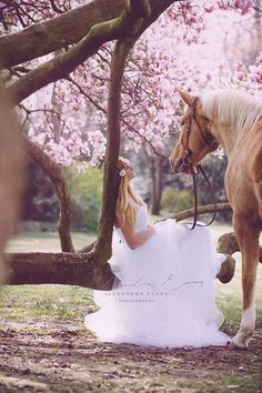 Beautiful horse and bride among pink flowering trees. So romantic! Alexandra Evang Photographie