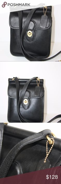 RARE Coach Vintage Crossbody Purse Excellent condition!  RARE Coach Vintage Purse.  Original hang tages.  Twist clasp front brass closure.  Suede interior.  Adjustable single crossbody strap.  Exterior large back slip pocket.  Front slip sleeve under flap.  Inner side zip pocket.  Smooth black leather.  9 x 7.5 x 3.5.  Strap drop - 22 to 25.  Petite. Low profile. Classic.  Timeless style. Highly functional.  This was my FAV bag when I was younger. I took great care of it, and it is in…