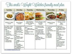 Free Weight Watcher friendly meal plan (with smart points) with printable grocery list.