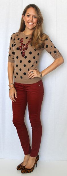 Polka dots and burgundy.