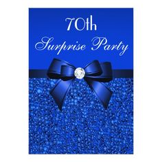 Printed Royal Blue Sequins, Bow & Diamond Sweet 16 X Invitation Card Carton Invitation, Invitation Paper, Bleu Royal, Royal Blue, 70th Birthday Invitations, Sweet Sixteen Invitations, Modern Invitations, Diy Invitations, Invites