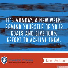 It's Monday, a NEW week. Remind yourself of your goals and give 100% effort to achieve them. #mondaymotivation #staypositive #work #goals #achieve Work Goals, Inventors, New Week, Staying Positive, Monday Motivation, Effort, Marketing