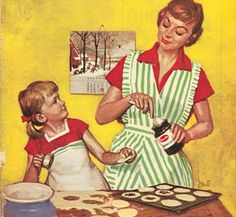 Mid-century housewife training her young daughter.