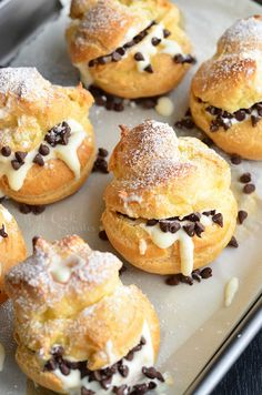 Cannoli Cream Filled Choux Pastry Cream Puffs Will Cook For Smiles Gourmet Recipes, Sweet Recipes, Baking Recipes, Dessert Recipes, Profiteroles, Eclairs, Just Desserts, Delicious Desserts, Choux Cream