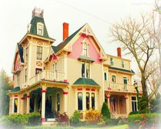 The Painted Lady Inn, Sandwich, Mass. Cheery yellow with pink and green and dark rose trims. I wonder if there is access to the little fenced space at the very top. Victorian Style Homes, Victorian Cottage, Victorian Life, Victorian Ladies, Victorian Architecture, Beautiful Architecture, Woman Painting, House Painting, Painted Lady House