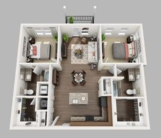 View floor layout and pictures of the 2 bedroom, 2 bath apartments at South Line Memphis. Studio Apartment Floor Plans, Studio Apartment Layout, Bedroom Floor Plans, Apartment Plans, Apartment Design, House Floor Plans, 2 Bedroom Apartment Floor Plan, House Layout Plans, Modern House Plans