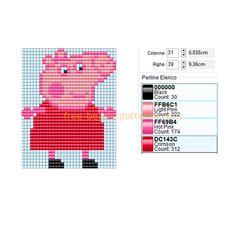 Peppa Pig, Crochet Mittens Free Pattern, Granny Square Crochet Pattern, Hama Beads Patterns, Beading Patterns, Fuse Beads, Perler Beads, Stitch Cartoon, Crochet Bookmarks