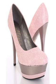 Pink Lace Detail Closed Pointy Toe Platform Heels