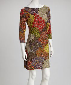 Take a look at this Brown Peacock Dress by Modern Touch on #zulily today!