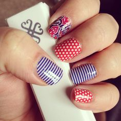 Jamberry Nail Wraps-skinny navy, vintage deco, poppy and white polka dots