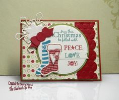 CC500 ~Christmas peace love joy~LJD stitched stockings (MFT) Paper: cherry cobbler, old olive, vv, shimmery vanilla, jolly holiday dsp (Stampin-Up) Paper Size: A2 Ink: cherry cobbler, island indigo, lost lagoon Accessories: MFT blueprints 3 and LJD stocking dies, Spellbinders snowflake #4, circle and matting basics A & B dies,   Read more: http://www.splitcoaststampers.com/gallery/photo/2570362#ixzz3IVQvKDUB