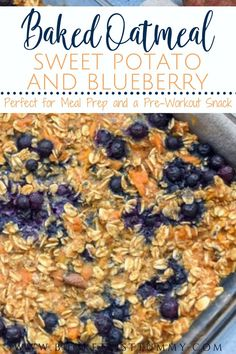 This Sweet Potato Oatmeal Bake with Blueberries is the perfect quick and nutritious breakfast option great for your meal prep oatmeal needs. Its ready in 30 minutes great for crowds and the perfect pre-workout snack! It's even great for kids! Healthy Oatmeal Recipes, Healthy Breakfast Options, Clean Eating Breakfast, Nutritious Breakfast, Healthy Dessert Recipes, Healthy Breakfast Recipes, Brunch Recipes, Whole Food Recipes, Baking Recipes