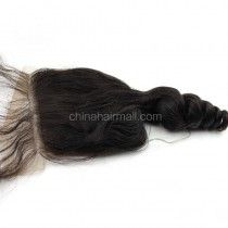 Peruvian Virgin Human Hair Popular 4*4 Lace Closure Eurasian Curly Natural Hair Line and Baby Hair [PVECTC]