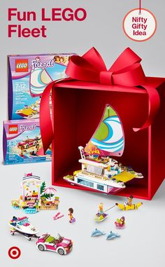 Grow their fun fleet with LEGO Friends Sunshine Catamaran & Andrea's Speedboat Transporter gifts.