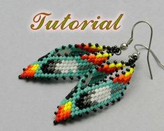 Waterfall Earrings Tutorial with Seed Beads and Crystals | Etsy Brick Stitch Earrings, Seed Bead Earrings, Leaf Earrings, Beaded Earrings, Seed Beads, Beaded Jewelry, Beaded Bead, Beaded Bracelets, Flower Earrings