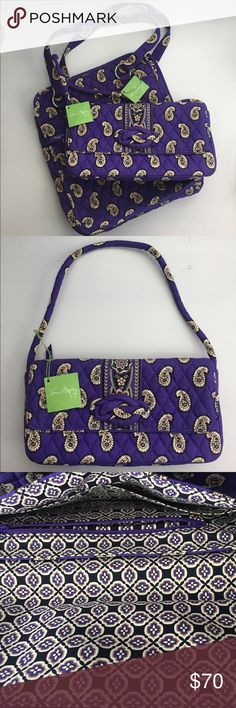 NWT Vera Bradley Simply Vera Tote & Clutch NWT Vera Bradley Simply Violet Tote & Clutch. Perfect pocket tote and knot just a clutch. Retired print, not available anymore. Excellent condition never used. Clutch measurements are about 12 X 6.5 X 3. Tote measurements are about 14 X 12 X 4. Black purple Vera Floral lining in perfect condition. Tote has back zipper pocket as well as one inside and other compartments. Tote has two outside tall open pockets as well as inside zipper one. If…