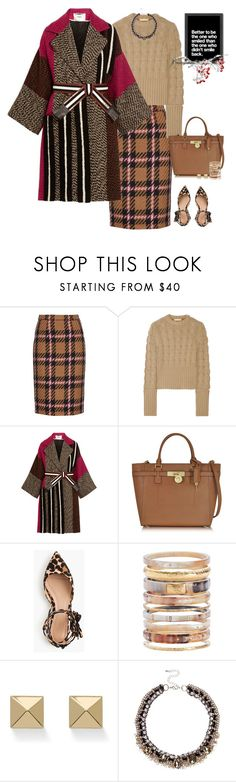 """""""Better to be the one who smiled than the one who didn't smile back"""" by musicfriend1 ❤ liked on Polyvore featuring Miu Miu, Michael Kors, Fendi, J.Crew, Ashley Pittman, Palm Beach Jewelry, River Island and Americanflat"""