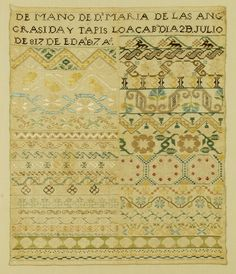 Spanish Sampler and in the collection of The Embroiderers' Guild of America.  Reproduced for EGA by Armida Padilla Taylor who now proudly owns her reproduction. Silk on linen.