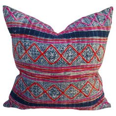 Check out this item at One Kings Lane! Hill Tribe Embroidered Batik Pillow