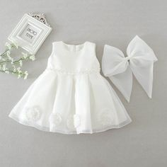 Baby Girl Birthday Wedding Party Christening White Flower Applique Bow – Everything For Your Baby Girl